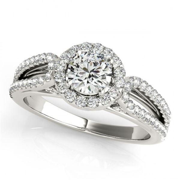 0.9 ctw Certified VS/SI Diamond Halo Ring 18k White Gold - REF-100N9F
