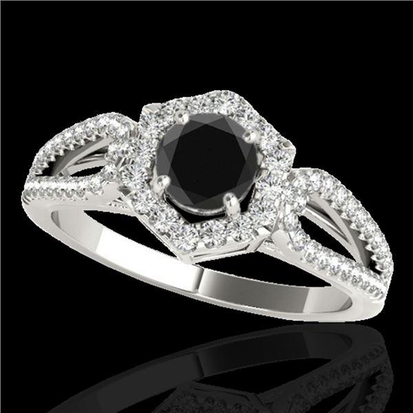 1.43 ctw Certified VS Black Diamond Solitaire Halo Ring 10k White Gold - REF-53W5H