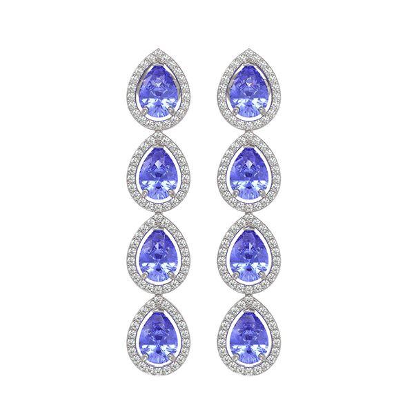 9.01 ctw Tanzanite & Diamond Micro Pave Halo Earrings 10k White Gold - REF-193A6N