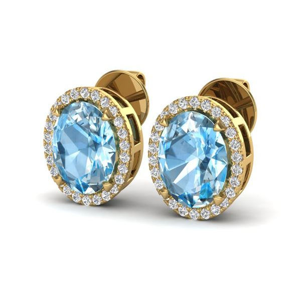5.50 ctw Sky Blue Topaz & Micro VS/SI Diamond Earrings 18k Yellow Gold - REF-49A2N