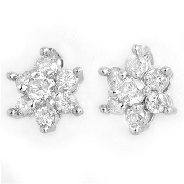0.50 ctw Certified VS/SI Diamond Earrings 18k White Gold - REF-32M3G