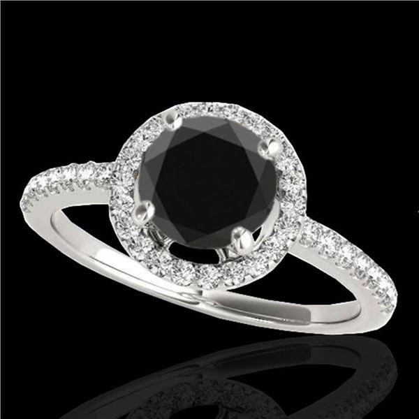 1.4 ctw Certified VS Black Diamond Solitaire Halo Ring 10k White Gold - REF-46W4H