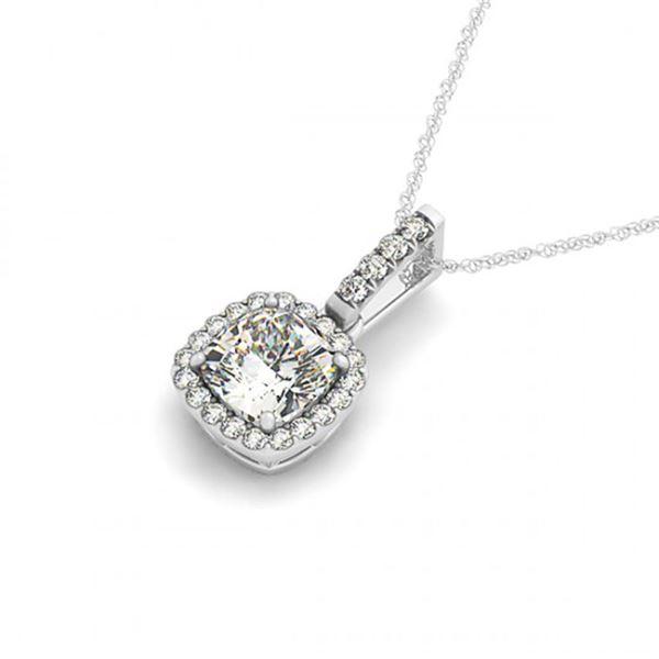 0.75 ctw Cushion Cut Certified VS/SI Diamond Necklace 14k White Gold - REF-116W4H