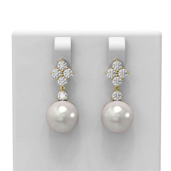 1.2 ctw Diamond & Pearl Earrings 18K Yellow Gold - REF-131R8K