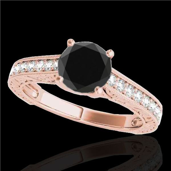 1.32 ctw Certified VS Black Diamond Solitaire Ring 10k Rose Gold - REF-43A2N