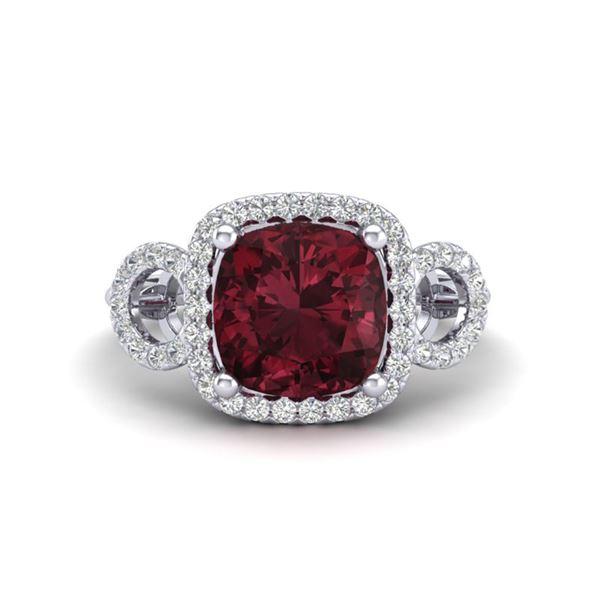 3.75 ctw Garnet & Micro VS/SI Diamond Certified Ring 18k White Gold - REF-50A6N