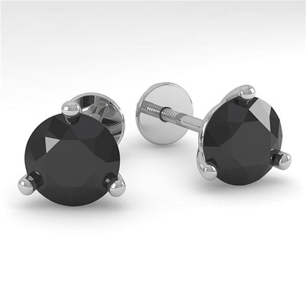 2.0 ctw Black Certified Diamond Stud Earrings Martini 14k White Gold - REF-48X2A