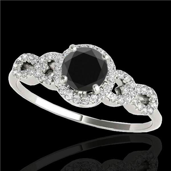 1.33 ctw Certified VS Black Diamond Solitaire Ring 10k White Gold - REF-53K2Y