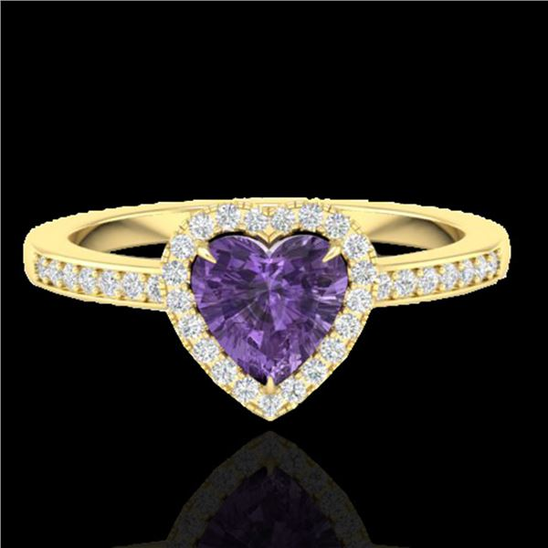 1 ctw Amethyst & Micro Pave Ring Heart Halo 14k Yellow Gold - REF-25W2H