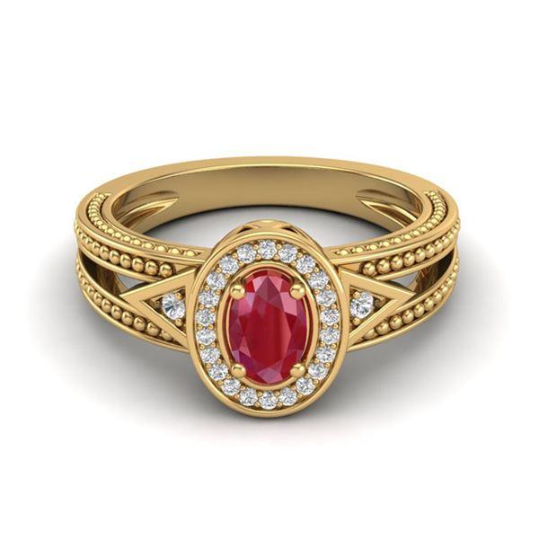 0.83 ctw Ruby & VS/SI Diamond Designer Halo Fashion Ring 10k Yellow Gold - REF-21N8F