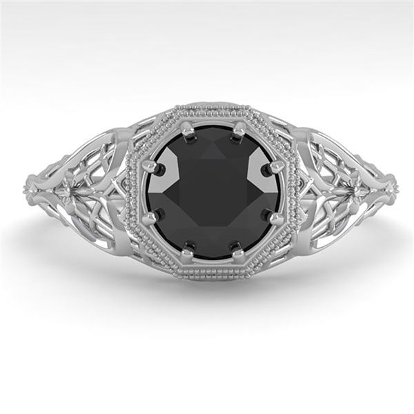 1.0 ctw Black Certified Diamond Engagment Ring Art Deco 18k White Gold - REF-50X6A