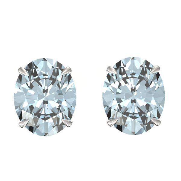 5 ctw Aquamarine Designer Stud Earrings 18k White Gold - REF-50N3F