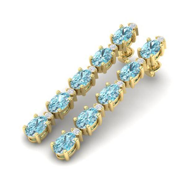 15.47 ctw Sky Blue Topaz & VS/SI Certified Diamond Earrings 10k Yellow Gold - REF-81R8K
