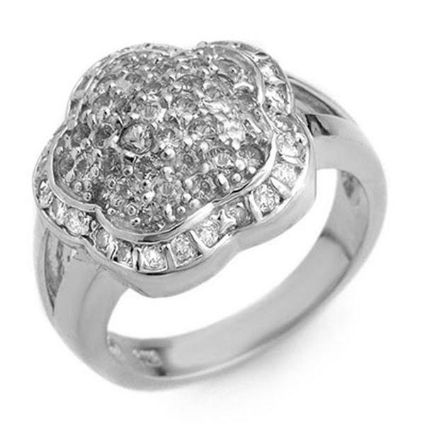 1.50 ctw Yellow Sapphire & Diamond Ring 14k White Gold - REF-81X8A