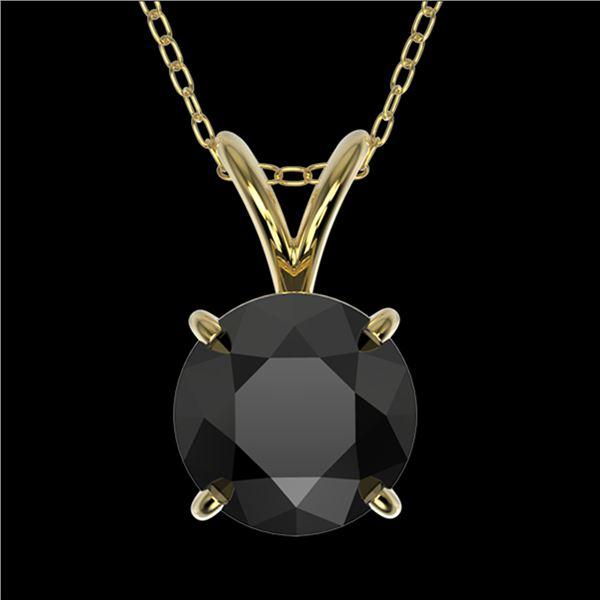 1.25 ctw Fancy Black Diamond Solitaire Necklace 10k Yellow Gold - REF-31R9K