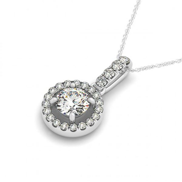 0.4 ctw Certified SI Diamond Halo Necklace 14k White Gold - REF-42M2G