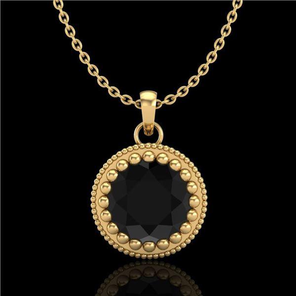 1 ctw Fancy Black Diamond Art Deco Stud Necklace 18k Yellow Gold - REF-39R5K