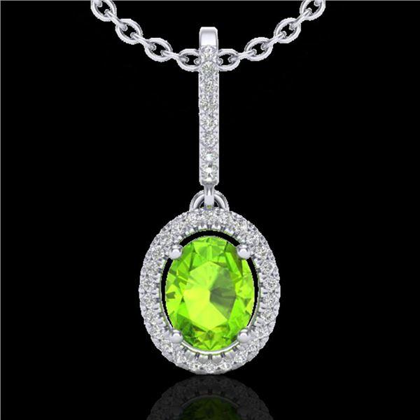 2 ctw Peridot & Micro Pave VS/SI Diamond Necklace Halo 18k White Gold - REF-52N8F