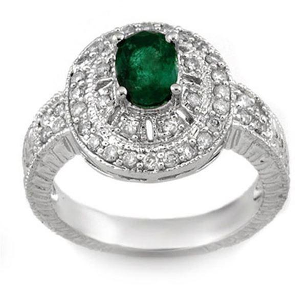 1.58 ctw Emerald & Diamond Ring 14k White Gold - REF-87N3F