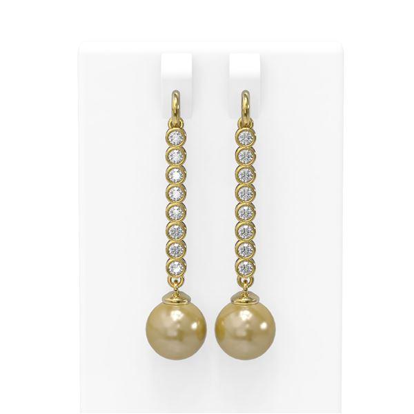 1.44 ctw Diamond & Pearl Earrings 18K Yellow Gold - REF-162K9Y