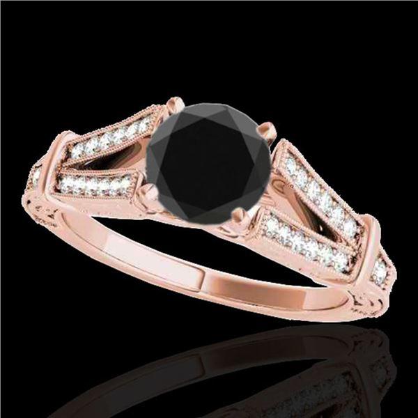 1.25 ctw Certified VS Black Diamond Solitaire Antique Ring 10k Rose Gold - REF-48R5K