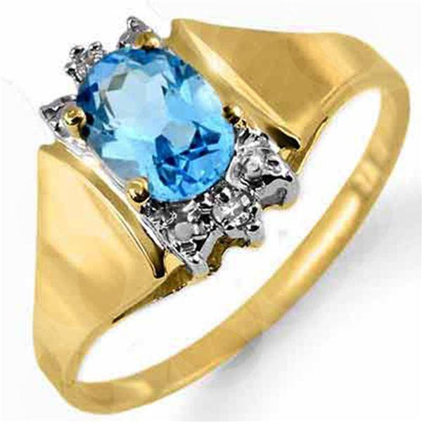 1.03 ctw Blue Topaz & Diamond Ring 10k Yellow Gold - REF-11F2M