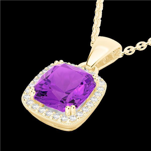 3 ctw Amethyst & Micro VS/SI Diamond Pave Necklace 18k Yellow Gold - REF-39X5A