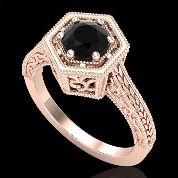 0.77 ctw Fancy Black Diamond Engagment Art Deco Ring 18k Rose Gold - REF-52A8N