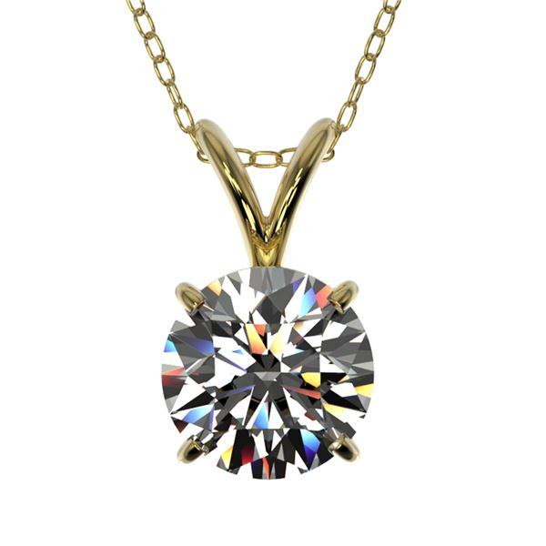 1 ctw Certified Quality Diamond Solitaire Necklace 10k Yellow Gold - REF-141R3K