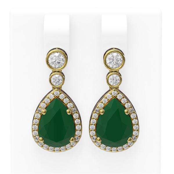 3.1 ctw Emerald & Diamond Earrings 18K Yellow Gold - REF-134F2M