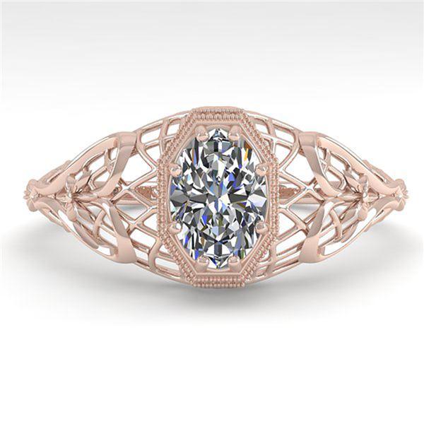 0.50 ctw VS/SI Oval Diamond Engagment Ring Art Deco 18k Rose Gold - REF-104R8K