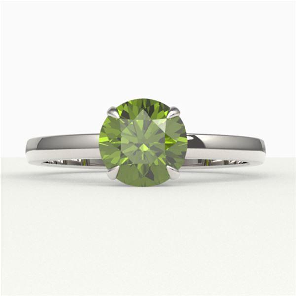 2 ctw Green Tourmaline Designer Engagment Ring 18k White Gold - REF-40G9W
