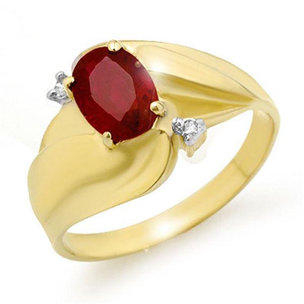 1.08 ctw Ruby & Diamond Ring 10k Yellow Gold - REF-17H8R