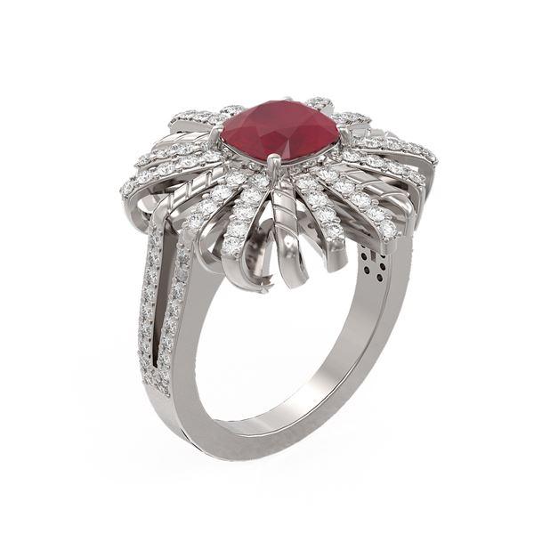 3.23 ctw Ruby & Diamond Ring 18K White Gold - REF-168K2Y