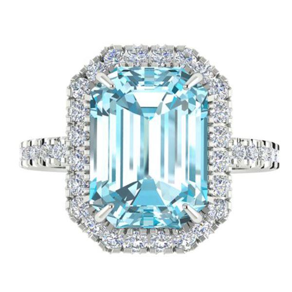 6.03 ctw Sky Blue Topaz & Micro Pave VS/SI Diamond Ring 18k White Gold - REF-47Y9X