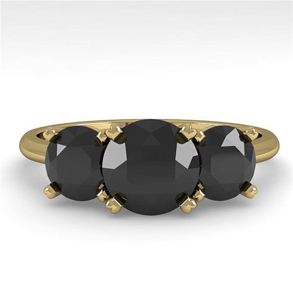 2 ctw Black Diamond Past Present Future Designer Ring 18k Yellow Gold - REF-67A5N