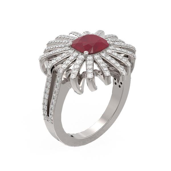 3.35 ctw Ruby & Diamond Ring 18K White Gold - REF-182H2R