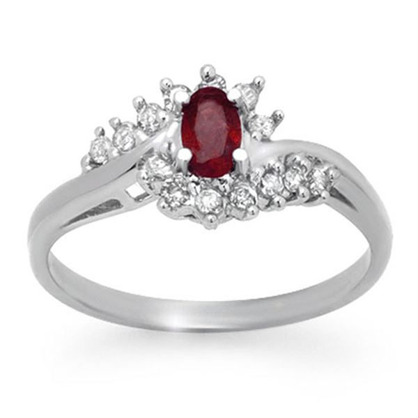 0.45 ctw Ruby & Diamond Ring 14k White Gold - REF-25F9M