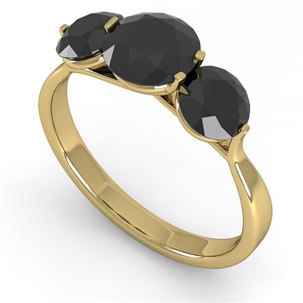 2 ctw Past Present Future Black Diamond Ring Martini 14k Yellow Gold - REF-57N2F