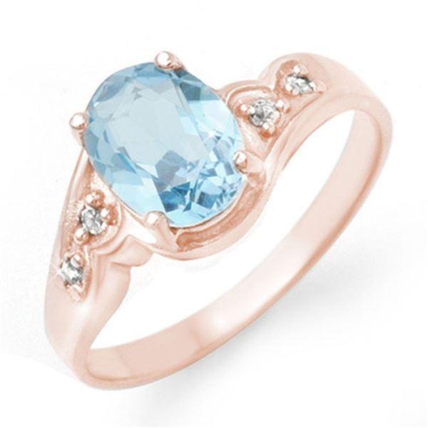 1.26 ctw Blue Topaz & Diamond Ring 18k Rose Gold - REF-23W9H