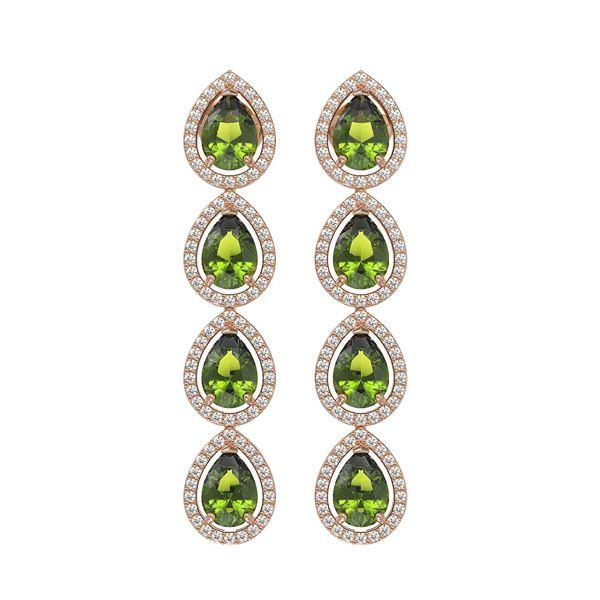 7.88 ctw Tourmaline & Diamond Micro Pave Halo Earrings 10k Rose Gold - REF-178W5H