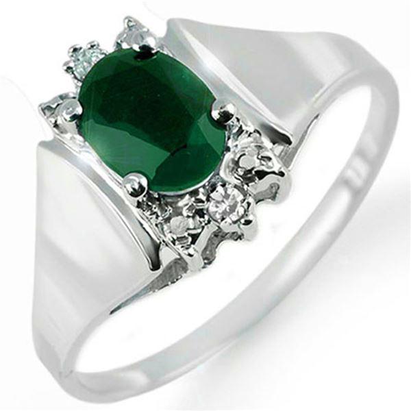 1.10 ctw Emerald & Diamond Ring 10k White Gold - REF-14X9A