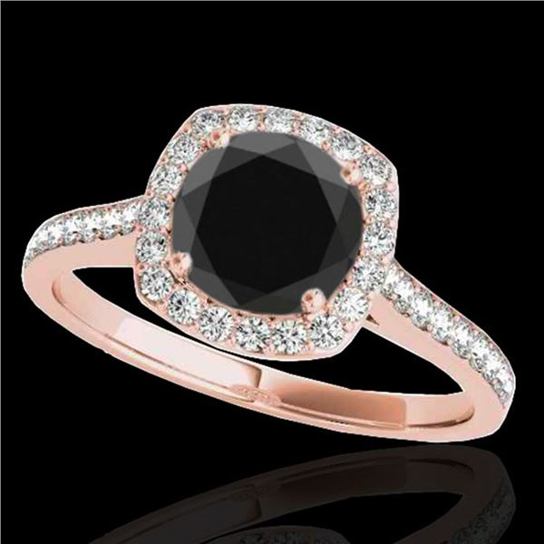 1.4 ctw Certified VS Black Diamond Solitaire Halo Ring 10k Rose Gold - REF-46W2H