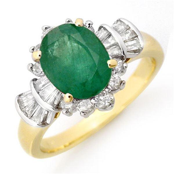 2.01 ctw Emerald & Diamond Ring 14k Yellow Gold - REF-80W2H