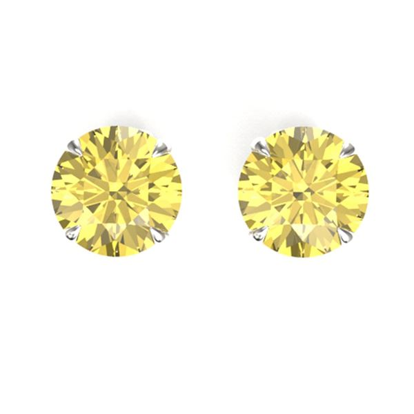 4 ctw Citrine Designer Stud Earrings 18k White Gold - REF-16W4H
