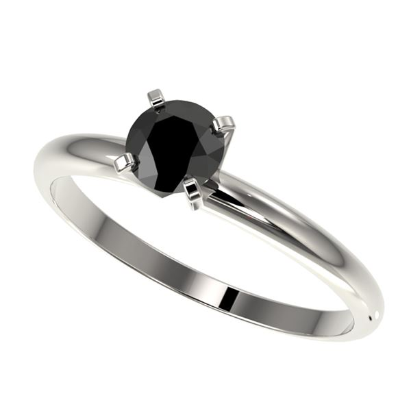 0.50 ctw Fancy Black Diamond Solitaire Engagment Ring 10k White Gold - REF-19X2A