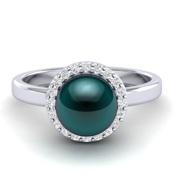 0.25 ctw Micro Pave VS/SI Diamond & Peacock Pearl Ring 18k White Gold - REF-41Y6X