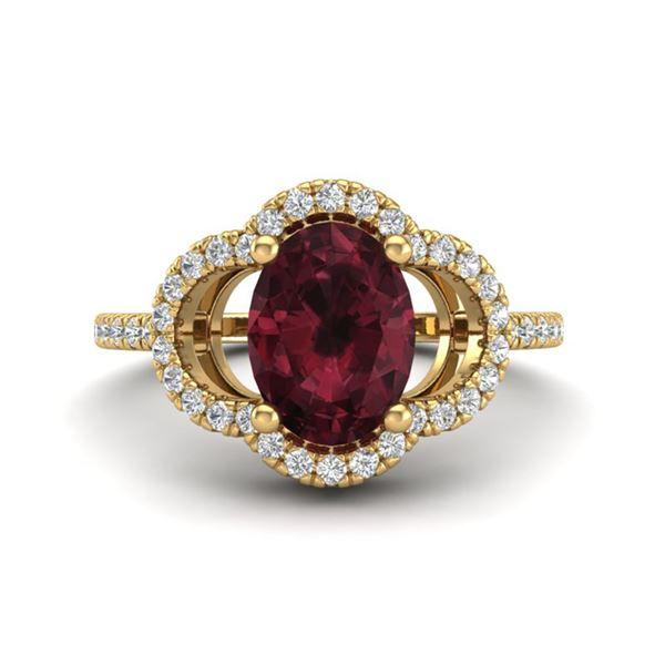2 ctw Garnet & Micro Pave VS/SI Diamond Certified Ring 10k Yellow Gold - REF-30Y2X
