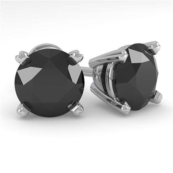 3.0 ctw Black Diamond Stud Designer Earrings 14k White Gold - REF-56G2W