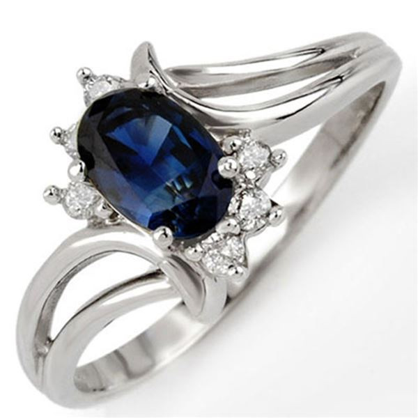 0.70 ctw Blue Sapphire & Diamond Ring 14k White Gold - REF-17W2H
